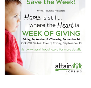 Attain Housing Home is Where the Heart Is Week of Giving 2020